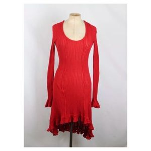 Free People Fire Engine Red Knit Dress